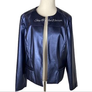 Chico's NWT faux leather shimmer blue jacket